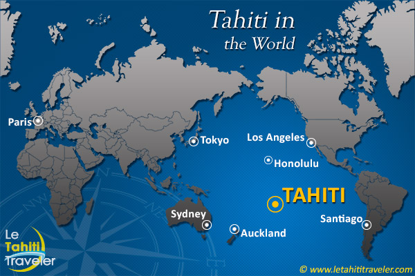 World map with Tahiti - The Tahiti Traveler